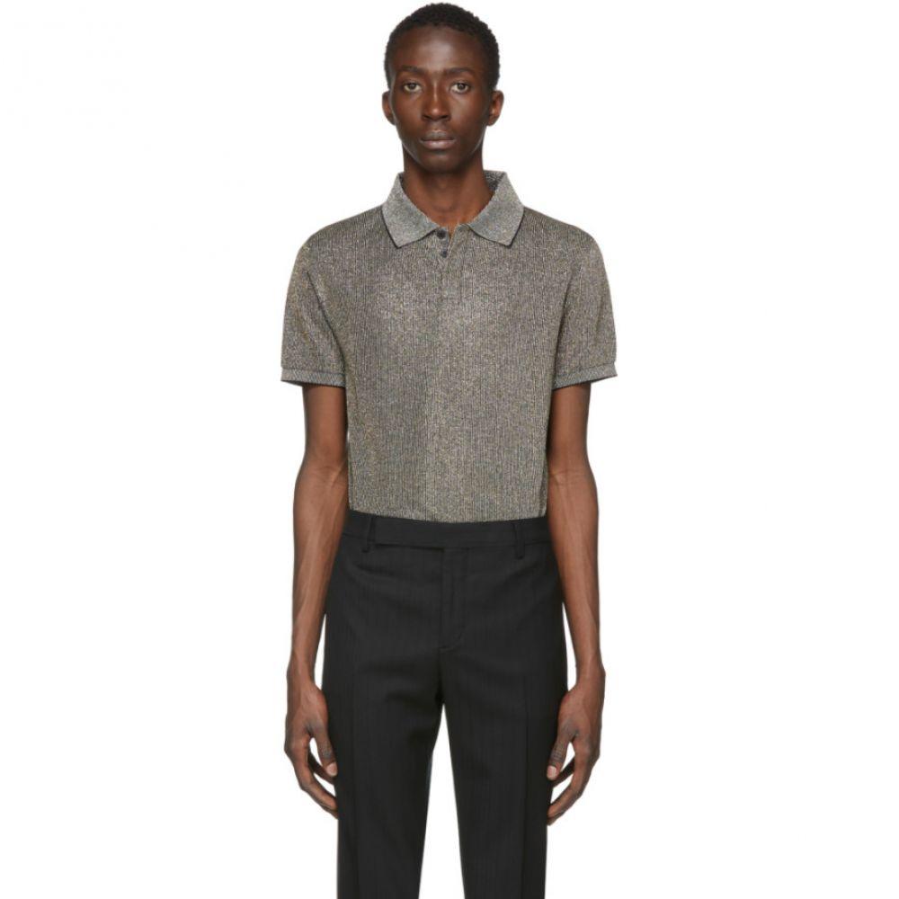 イヴ サンローラン Saint Laurent メンズ ポロシャツ トップス【Black Metallic Polo Shirt】Black/Silver/Gold