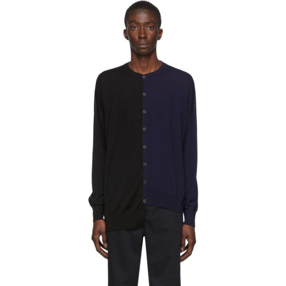 ロエベ Loewe メンズ カーディガン トップス【Black & Navy Asymmetric Cardigan】Black/Navy blue