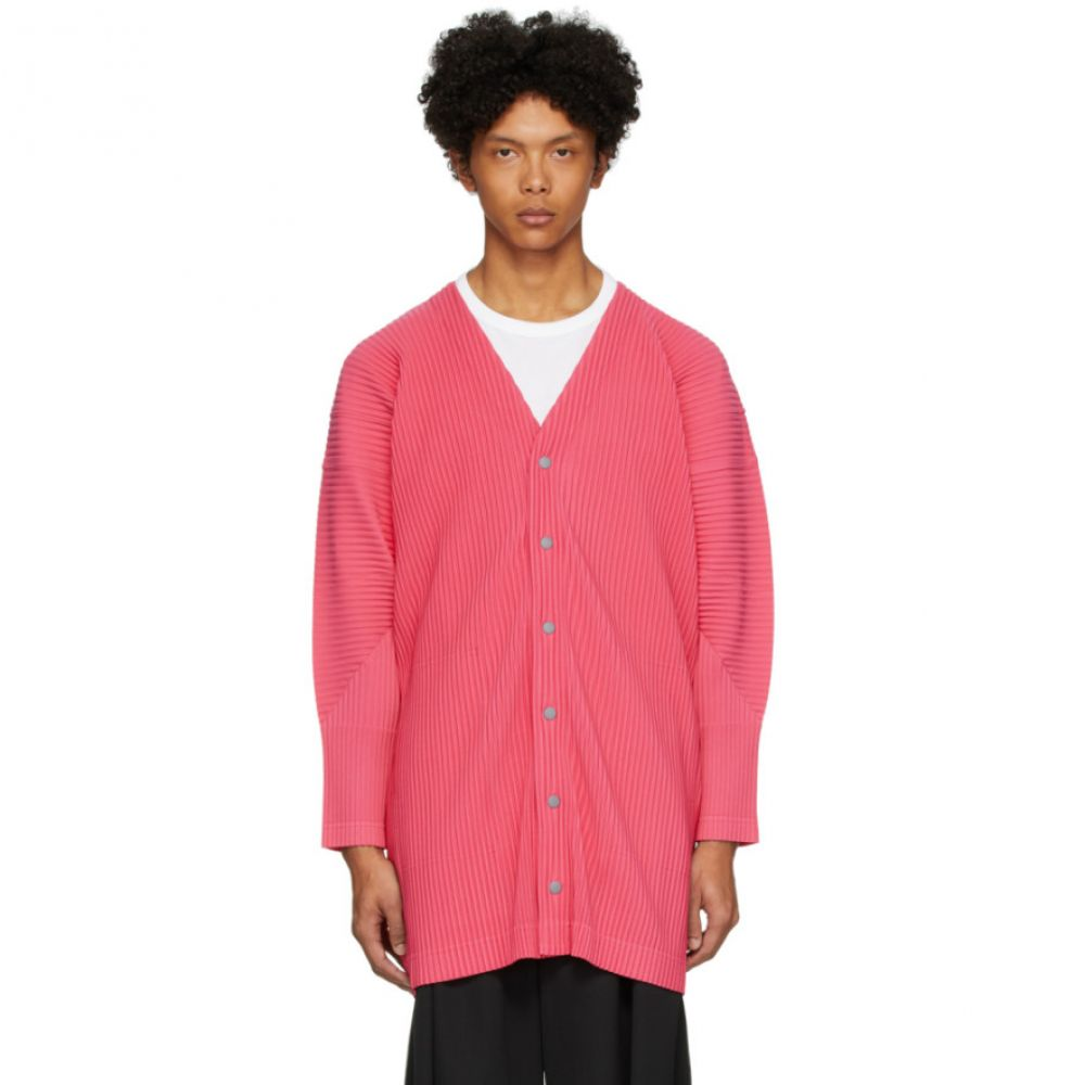 イッセイ ミヤケ Homme Plisse Issey Miyake メンズ カーディガン トップス【Pink Basics Cardigan】Sapeur pink