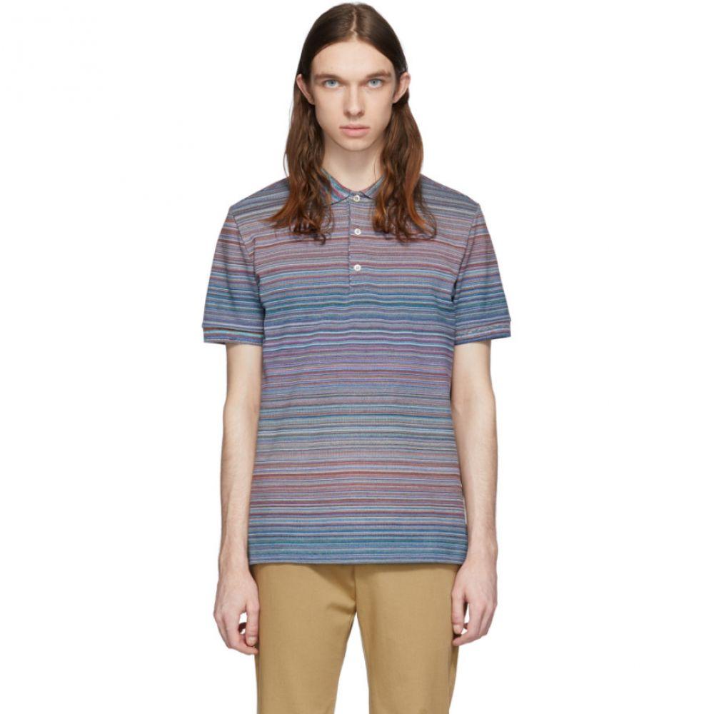 ミッソーニ Missoni メンズ ポロシャツ トップス【Blue & Multicolor Striped Polo】Blue