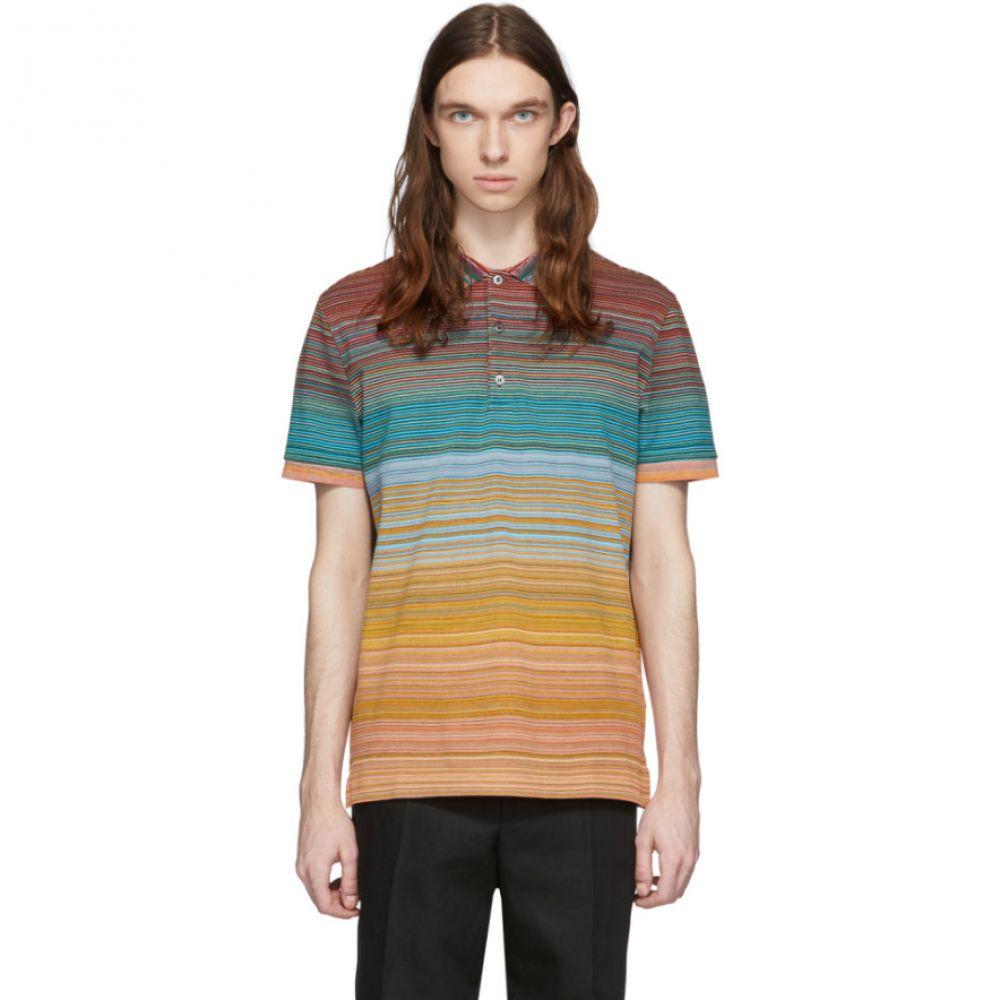 ミッソーニ Missoni メンズ ポロシャツ トップス【Orange & Multicolor Striped Polo】Orange