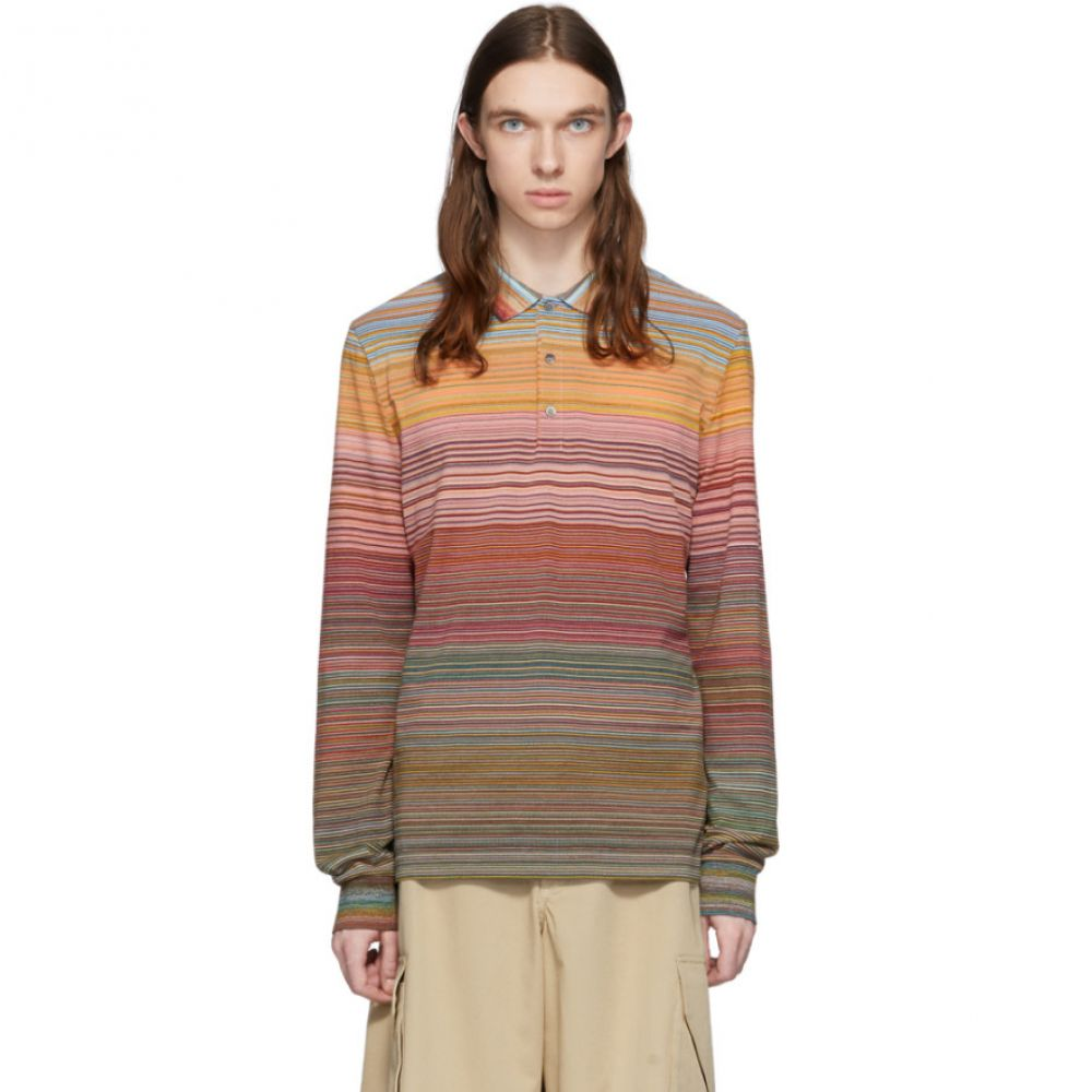 ミッソーニ Missoni メンズ ポロシャツ トップス【Orange & Multicolor Striped Long Sleeve Polo】Orange