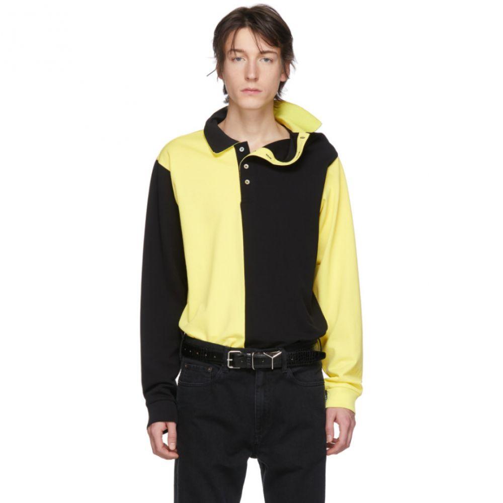 ワイプロジェクト Y/Project メンズ ポロシャツ トップス【Black & Yellow Asymmetric Collar Polo】