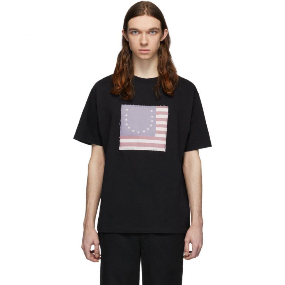フォートゥーフォー 424 メンズ Tシャツ トップス【Black Smiley Flag T-Shirt】Black