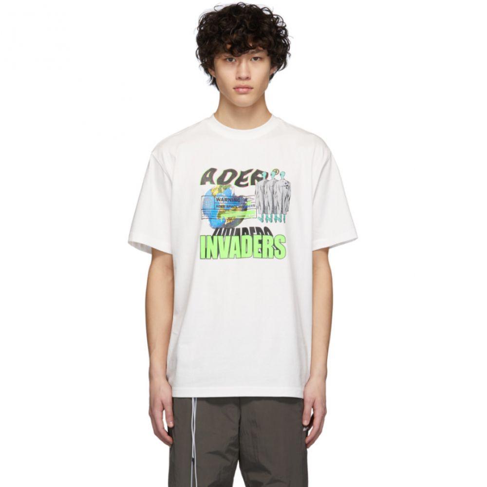 アーダーエラー ADER error メンズ Tシャツ トップス【White Invaders T-Shirt】White