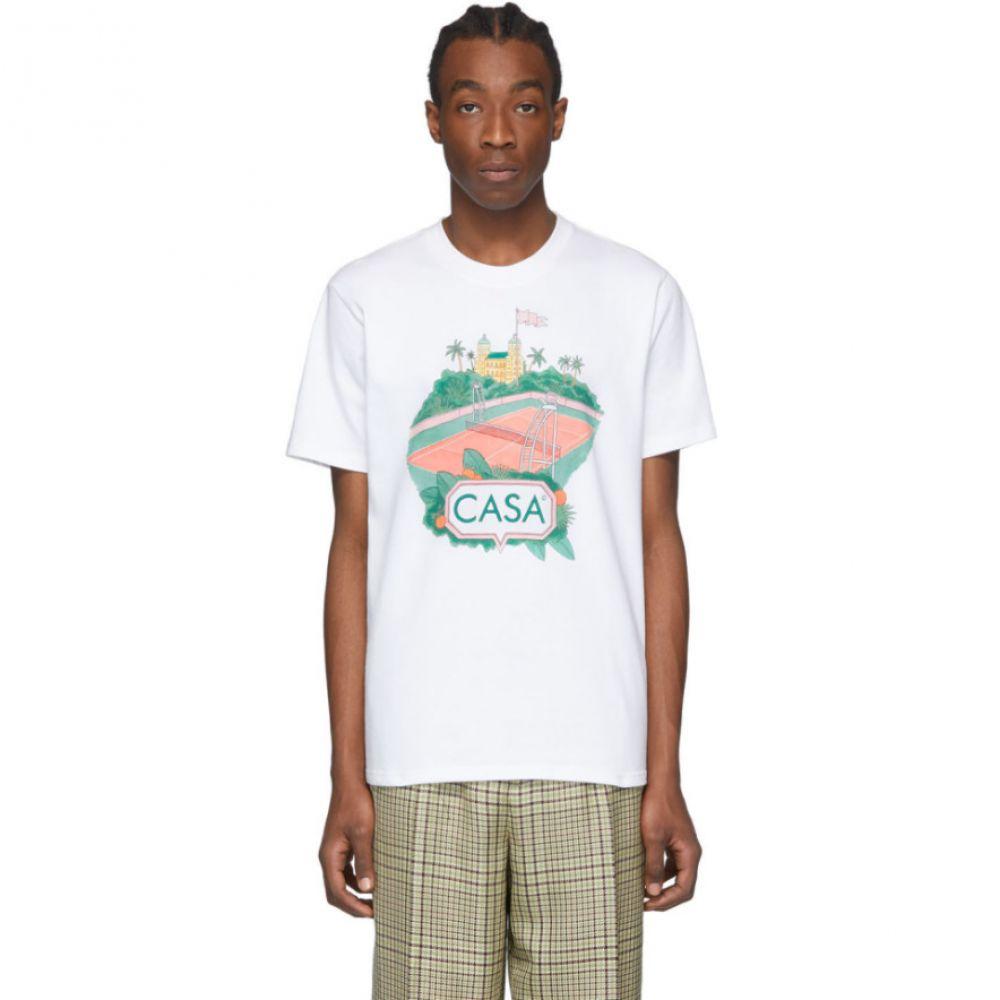 カサブランカ Casablanca メンズ Tシャツ トップス【White 'Casa Court' T-Shirt】White
