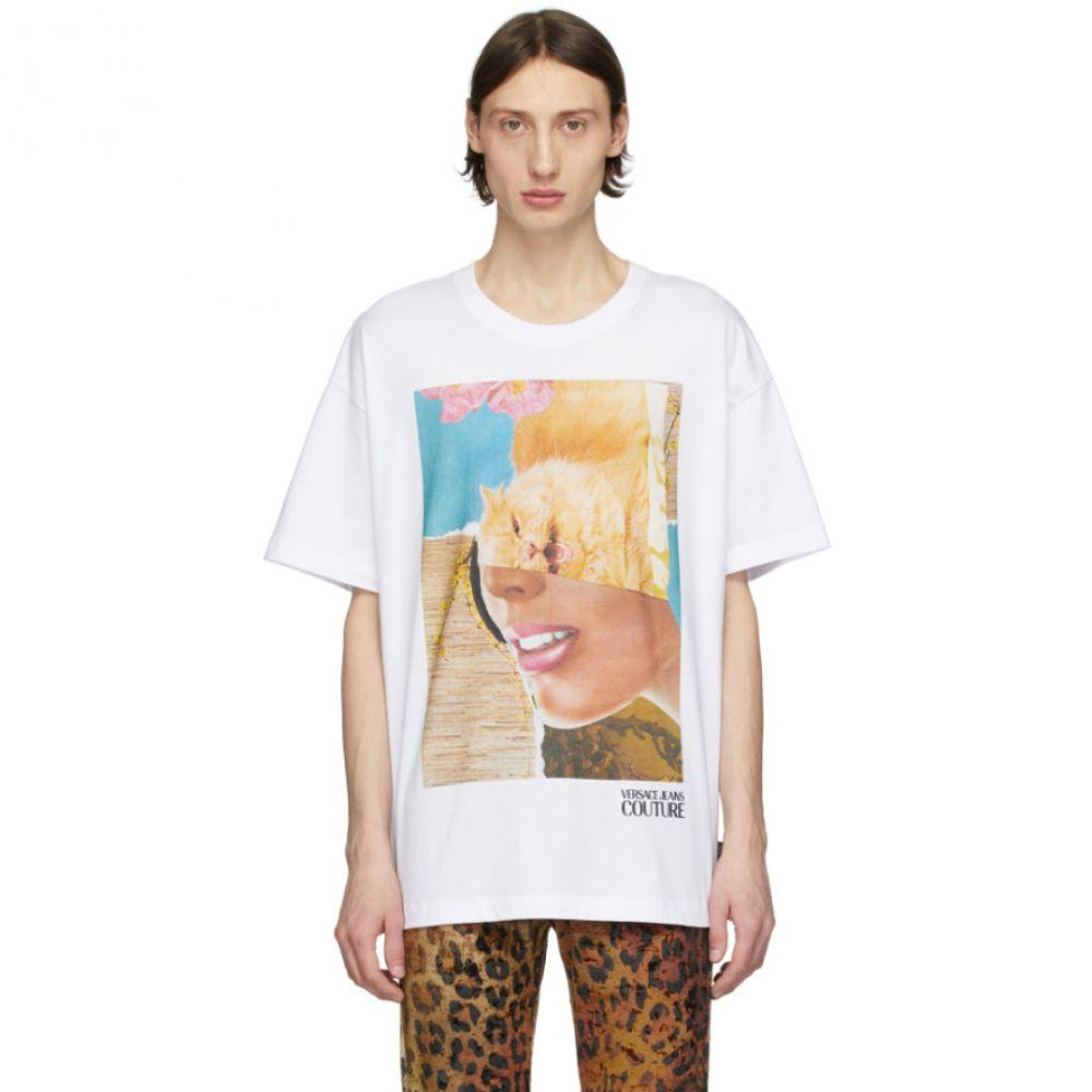 ヴェルサーチ Versace Jeans Couture メンズ Tシャツ トップス【White Rosa Burgess Edition Print T-Shirt】White