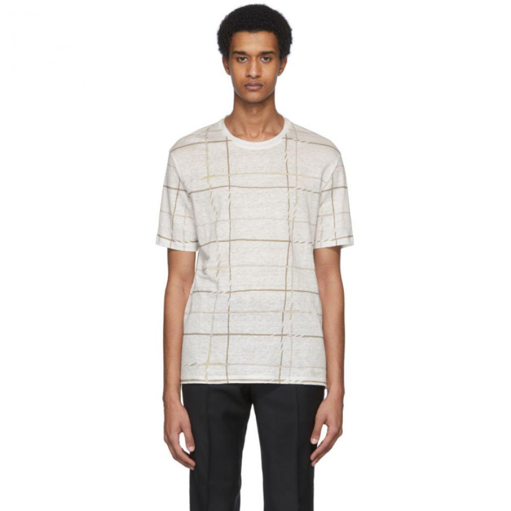 エルメネジルド ゼニア Ermenegildo Zegna メンズ Tシャツ トップス【White Linen Plaid T-Shirt】White