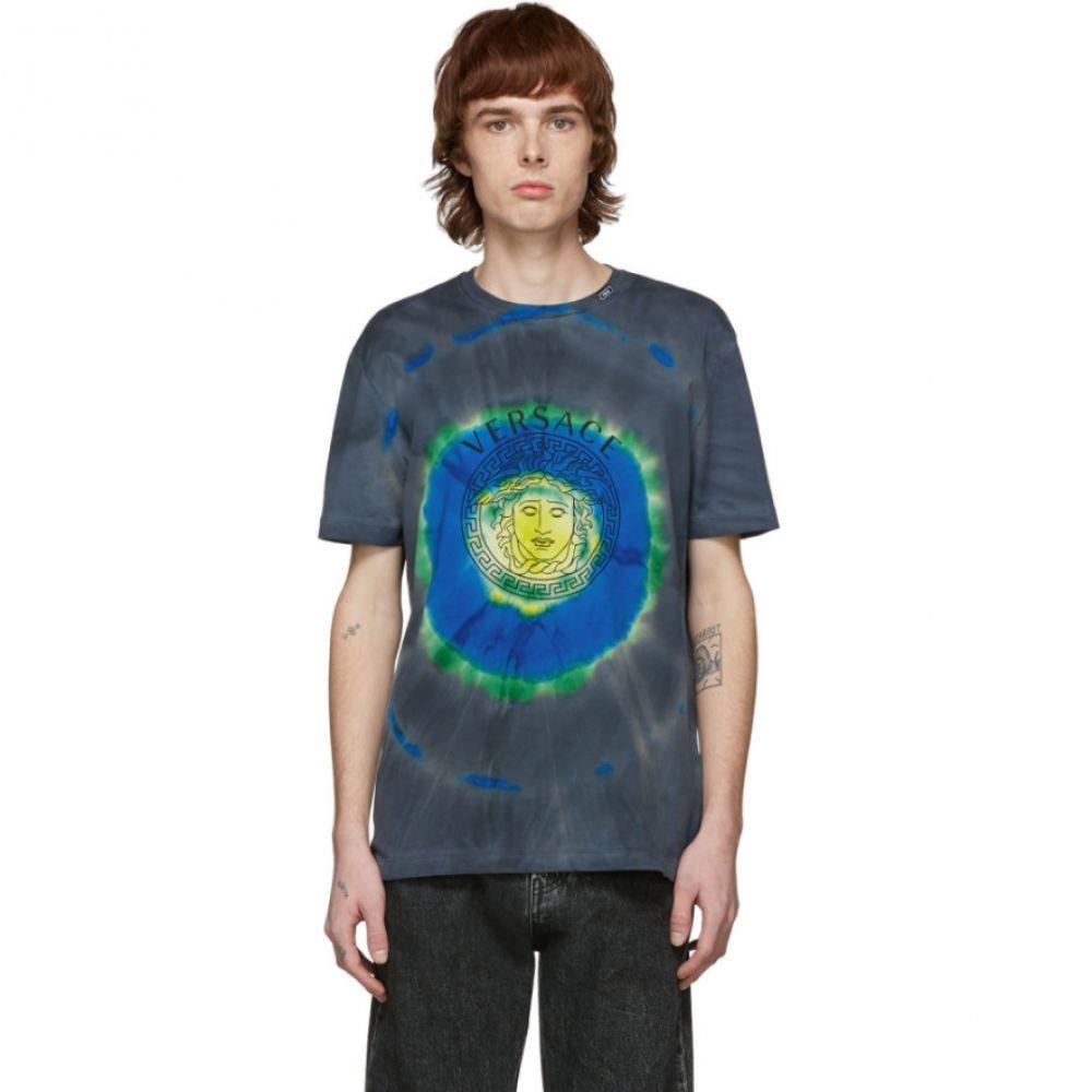 ヴェルサーチ Versace メンズ Tシャツ メデューサ トップス【Green & Multicolor Tie-Dye Medusa T-Shirt】Verde