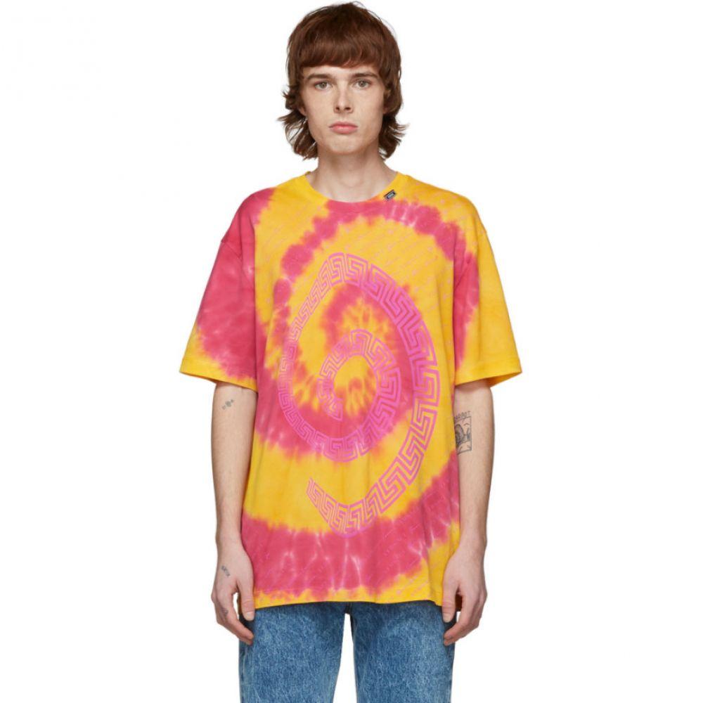 ヴェルサーチ Versace メンズ Tシャツ トップス【Orange & Pink Tie-Dye T-Shirt】Fuchsia/Orange