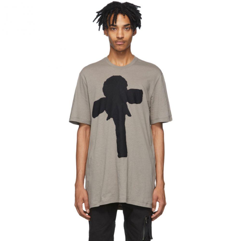 ユリウス Julius メンズ Tシャツ トップス【Grey Graphic T-Shirt】Khaki grey