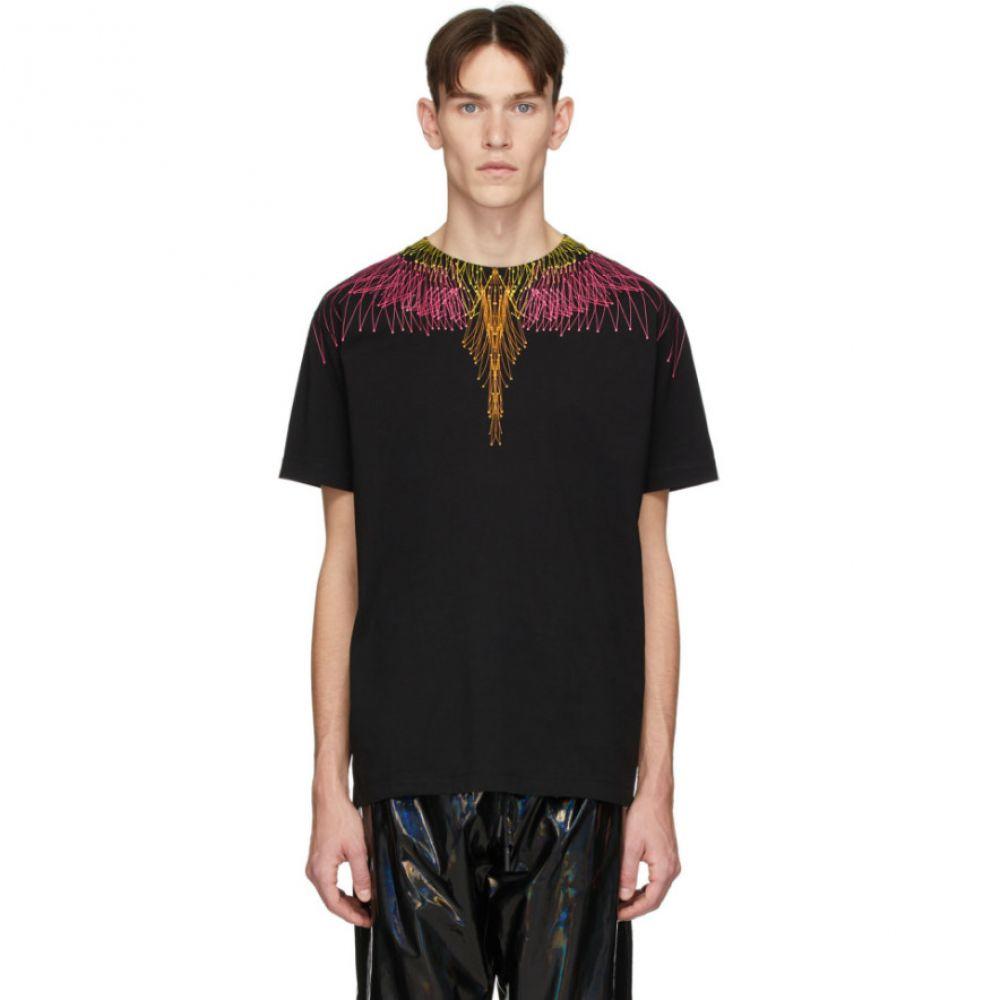 マルセロバーロン Marcelo Burlon County of Milan メンズ Tシャツ トップス【Black & Pink Bezier Wings T-Shirt】Black/Fuchsia