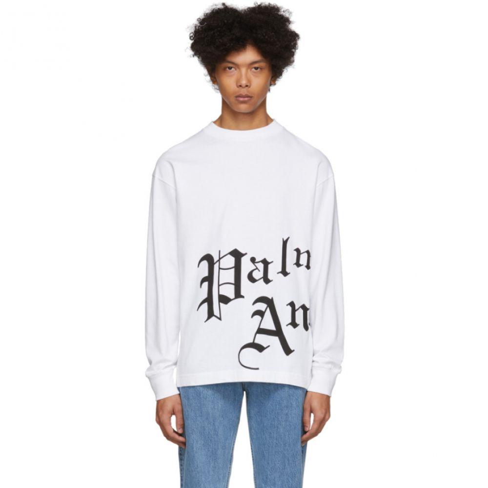 パーム エンジェルス Palm Angels メンズ 長袖Tシャツ トップス【White New Gothic Long Sleeve T-Shirt】White/Black