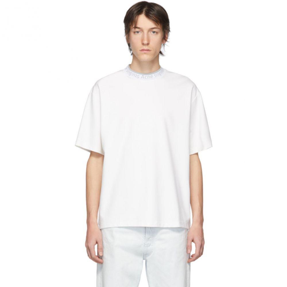 アクネ ストゥディオズ Acne Studios メンズ Tシャツ トップス【White Logo Rib Extorr T-Shirt】Optic white