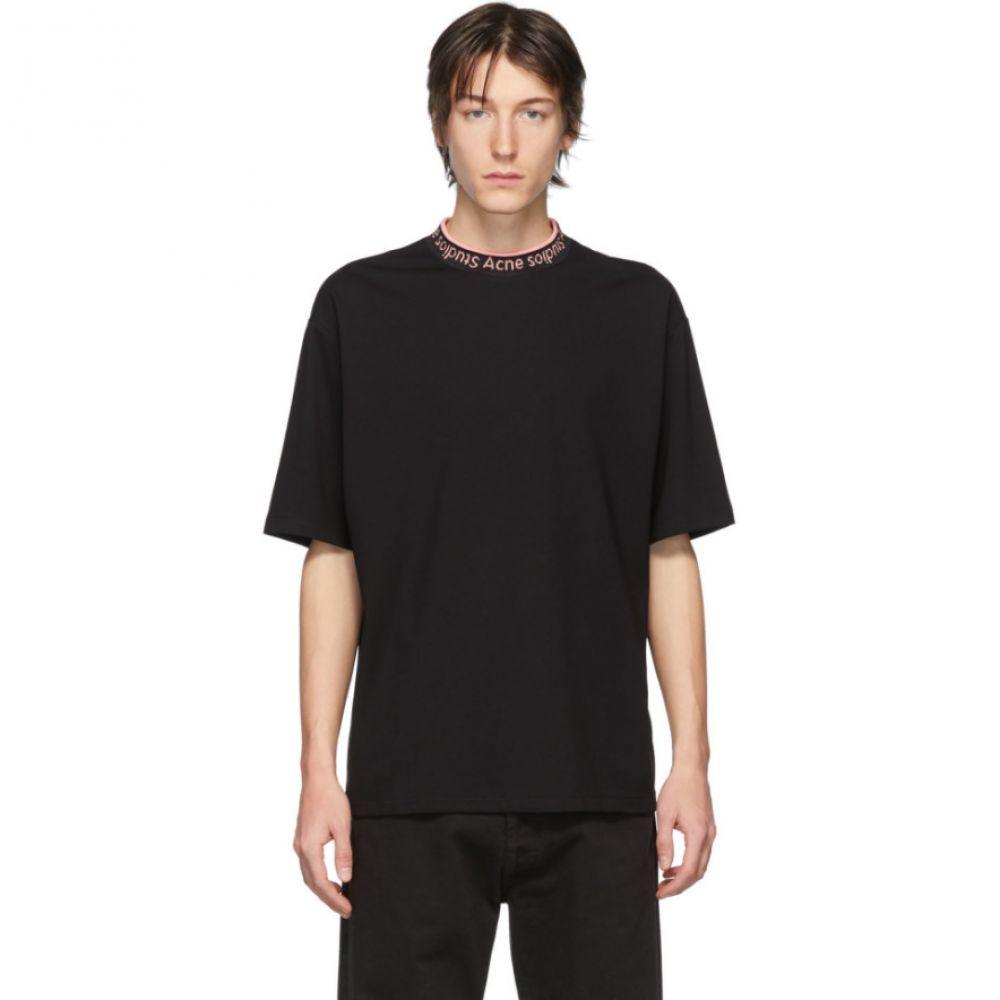 アクネ ストゥディオズ Acne Studios メンズ Tシャツ トップス【SSENSE Exclusive Black & Pink Logo Rib Extorr T-Shirt】Black/Pink