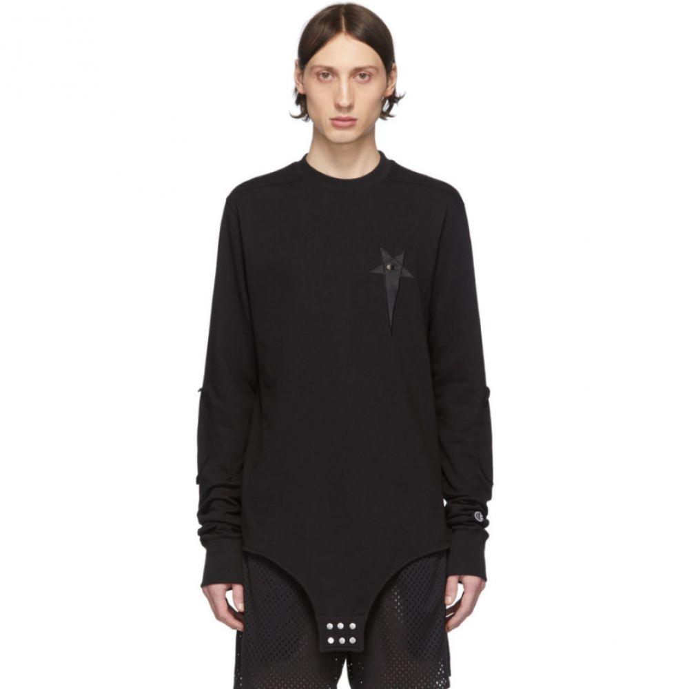 リック オウエンス Rick Owens メンズ 長袖Tシャツ トップス【Black Champion Edition Long Sleeve T-Shirt】Black