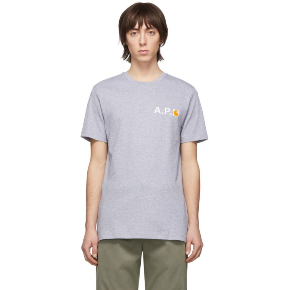 アーペーセー A.P.C. メンズ Tシャツ トップス【Grey Carhartt WIP Edition Fire T-Shirt】Gris chine