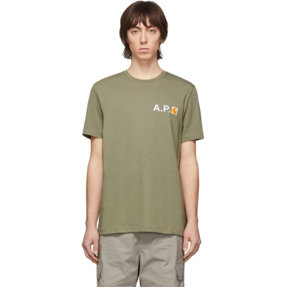 アーペーセー A.P.C. メンズ Tシャツ トップス【Green Carhartt WIP Edition Fire T-Shirt】Khaki