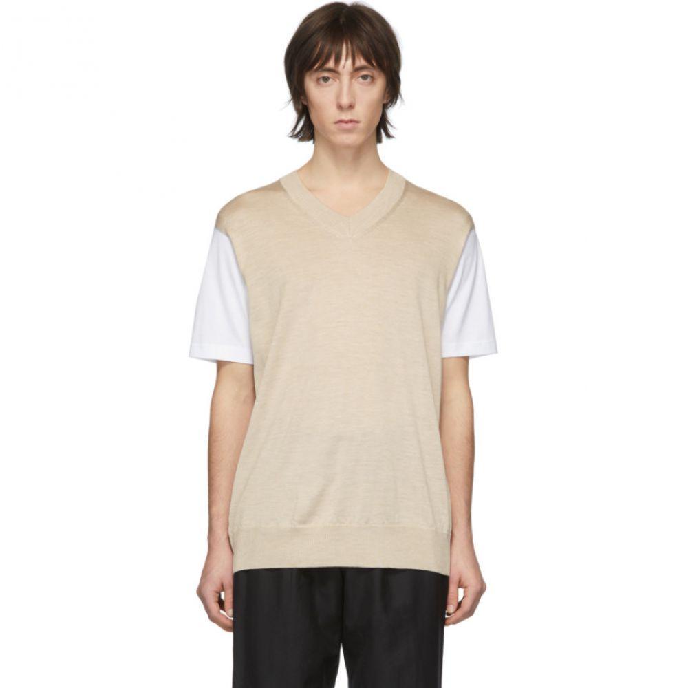 ジュンヤ ワタナベ Junya Watanabe メンズ Tシャツ トップス【White & Beige Thin Knit Jersey T-Shirt】White/Beige