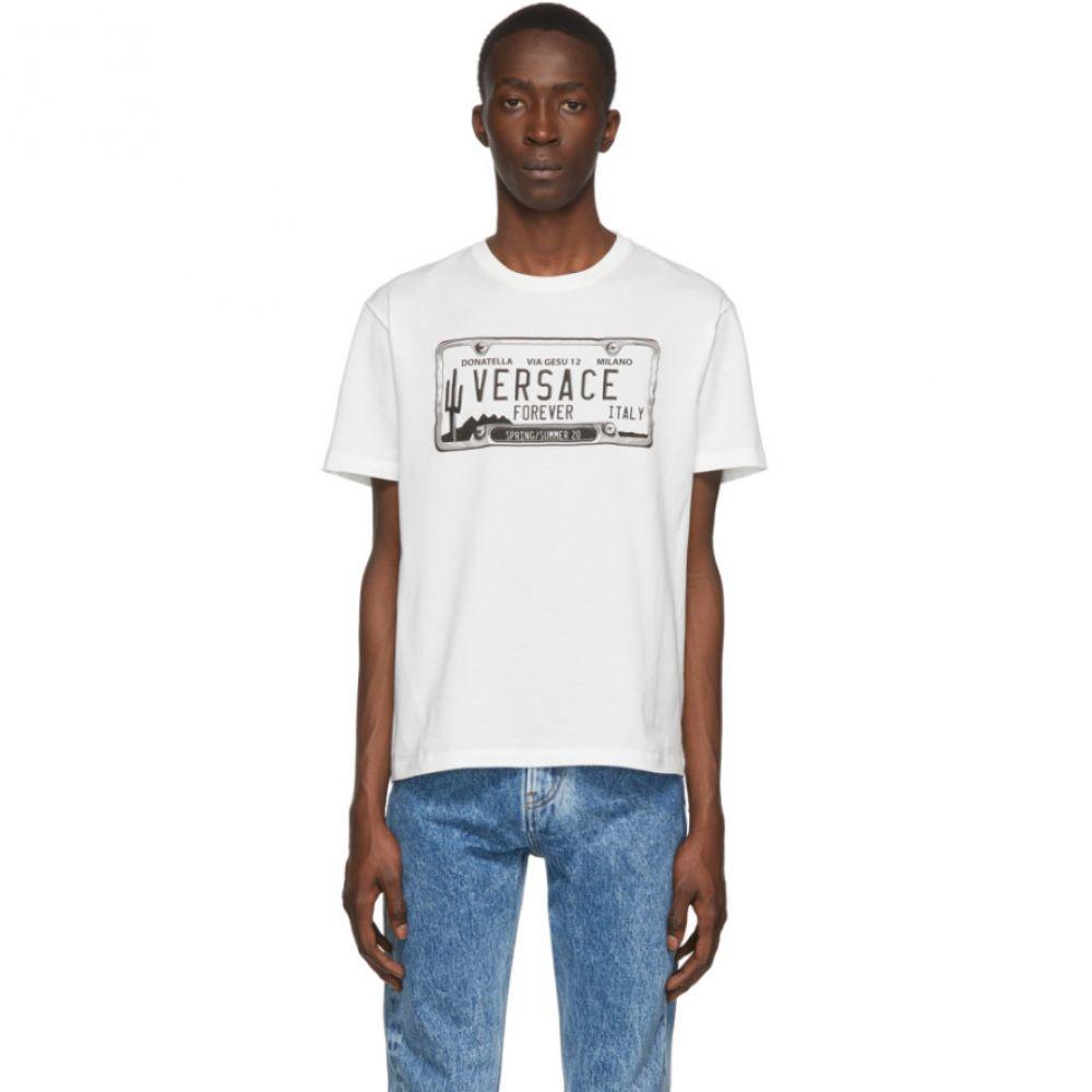 ヴェルサーチ Versace メンズ Tシャツ トップス【White License Plate T-Shirt】White