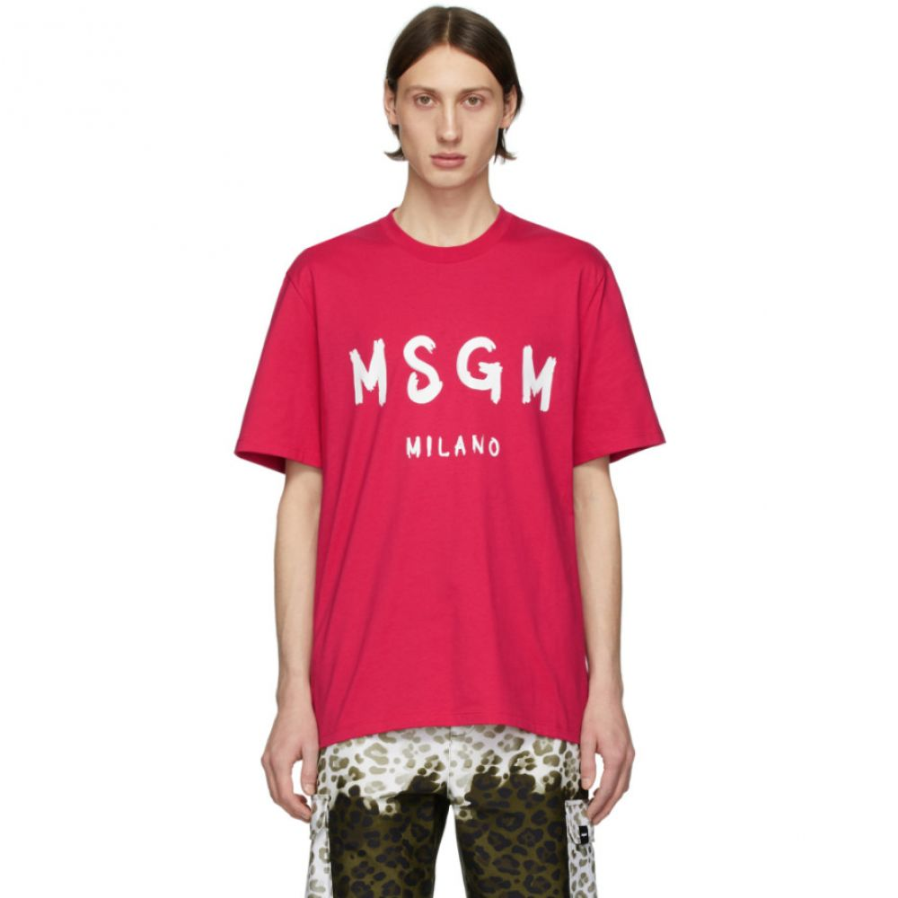 エムエスジーエム MSGM メンズ Tシャツ トップス【Pink Artist Logo T-Shirt】Raspberry