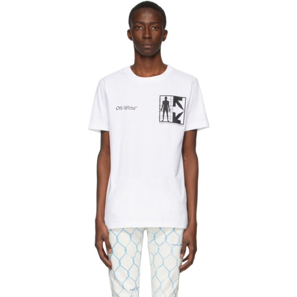 オフホワイト Off-White メンズ Tシャツ トップス【White Half Arrows Man T-Shirt】White/Black