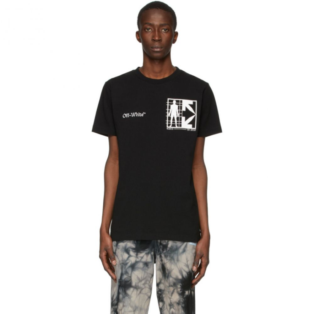 オフホワイト Off-White メンズ Tシャツ トップス【Black Half Arrows Man T-Shirt】Black/White