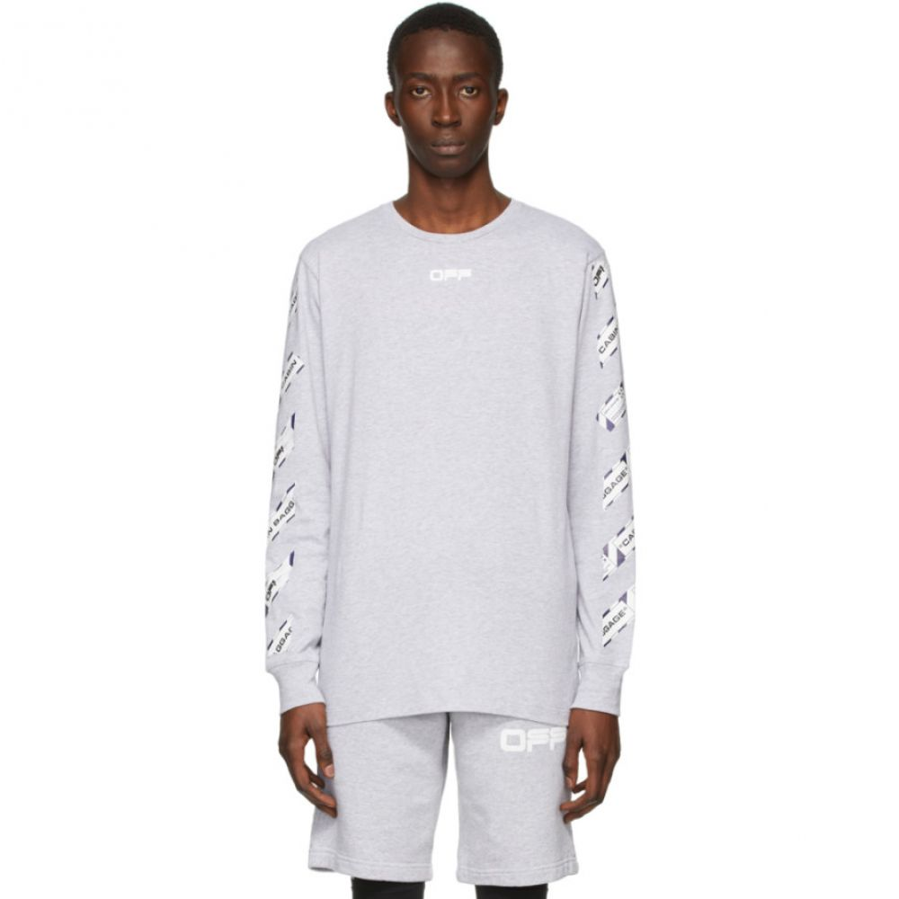 オフホワイト Off-White メンズ 長袖Tシャツ トップス【Grey Airport Tape Long Sleeve T-Shirt】Melange grey