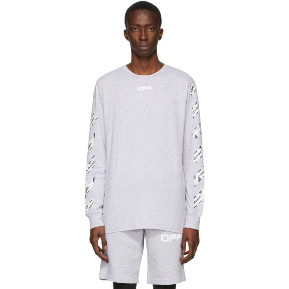 オフホワイト Off-White メンズ 長袖Tシャツ トップス【Grey Airport Tape Long Sleeve T-Shirt】Melange grey