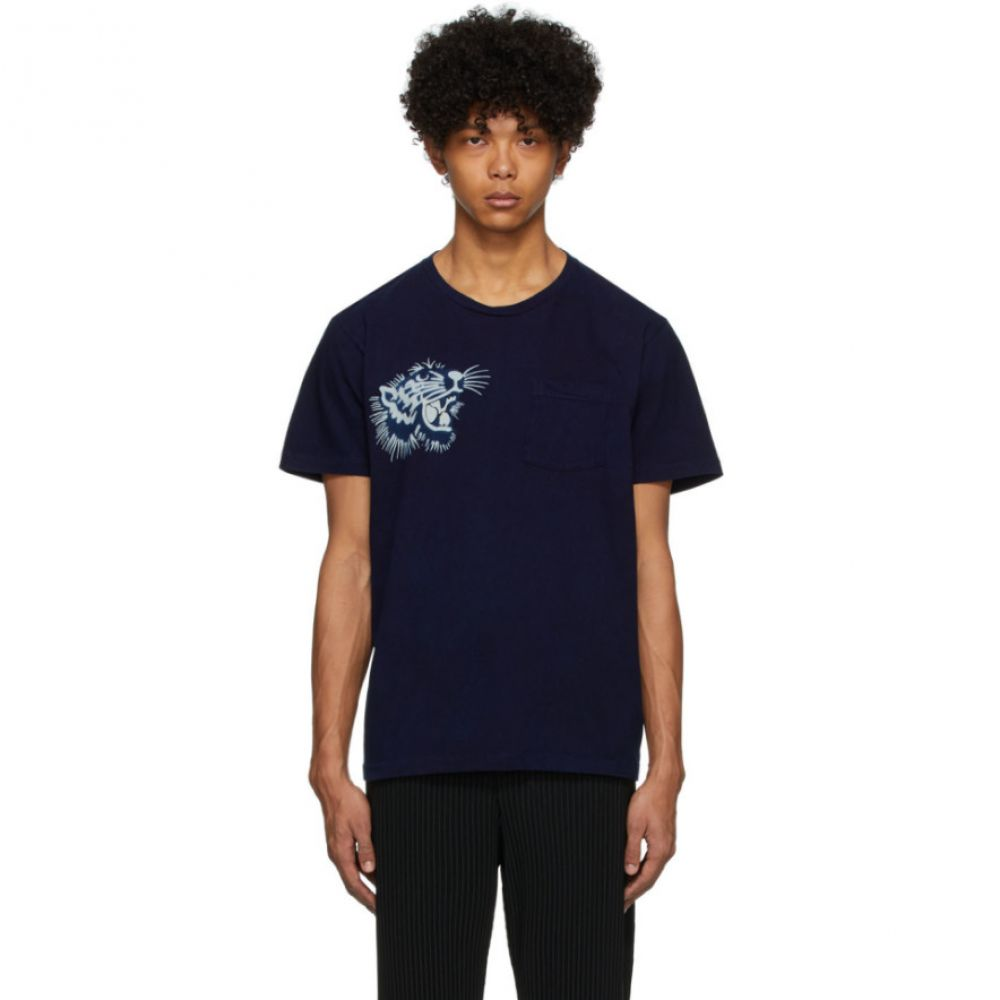 ブルーブルージャパン Blue Blue Japan メンズ Tシャツ トップス【Blue Okura Tiger T-Shirt】Indigo