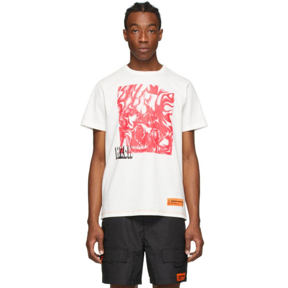 ヘロン プレストン Heron Preston メンズ Tシャツ トップス【White & Red Box Skull T-Shirt】White/Fuchsia