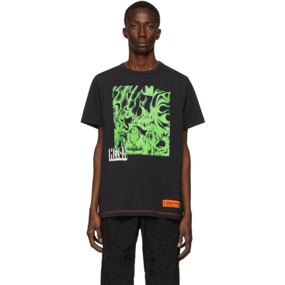 ヘロン プレストン Heron Preston メンズ Tシャツ トップス【Black & Green Box Skull T-Shirt】Black/Green