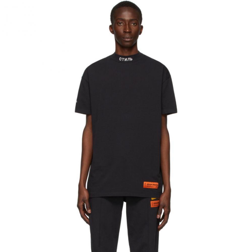 ヘロン プレストン Heron Preston メンズ Tシャツ トップス【Black 'Style' Mock Neck T-Shirt】Black/White