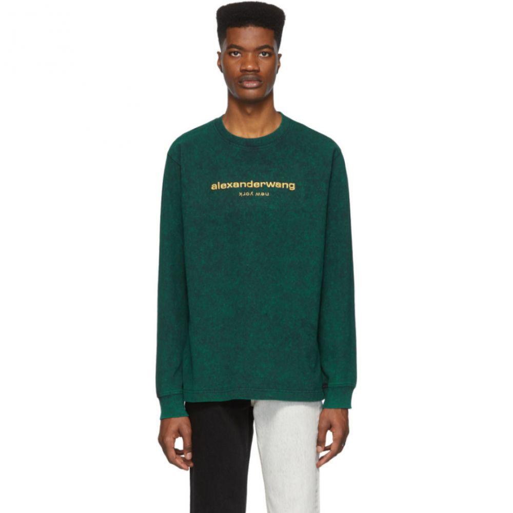 アレキサンダー ワン Alexander Wang メンズ 長袖Tシャツ トップス【Green Bleached Logo Long Sleeve T-Shirt】Acid jade