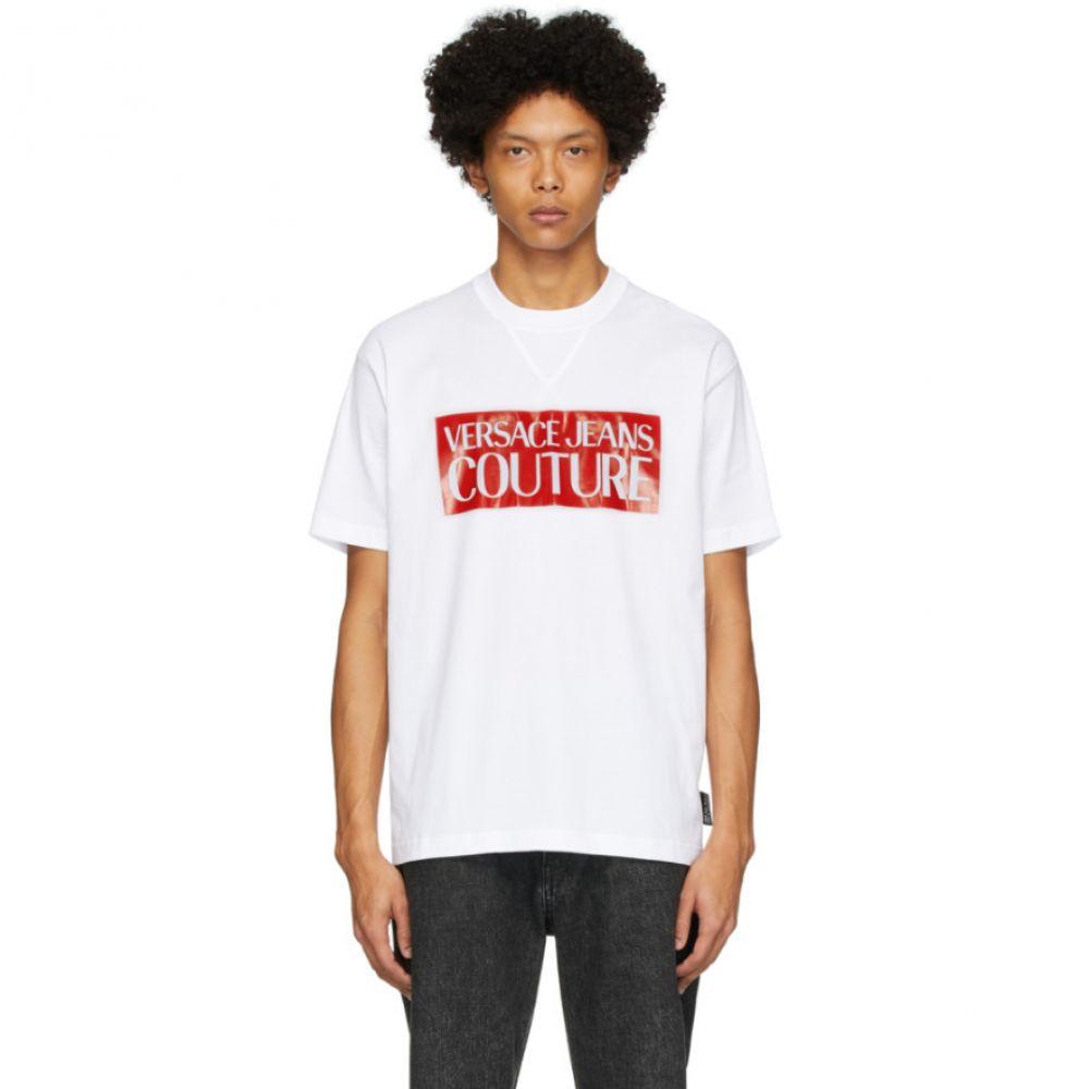 ヴェルサーチ Versace Jeans Couture メンズ Tシャツ トップス【White & Red Pop Box Logo T-Shirt】White