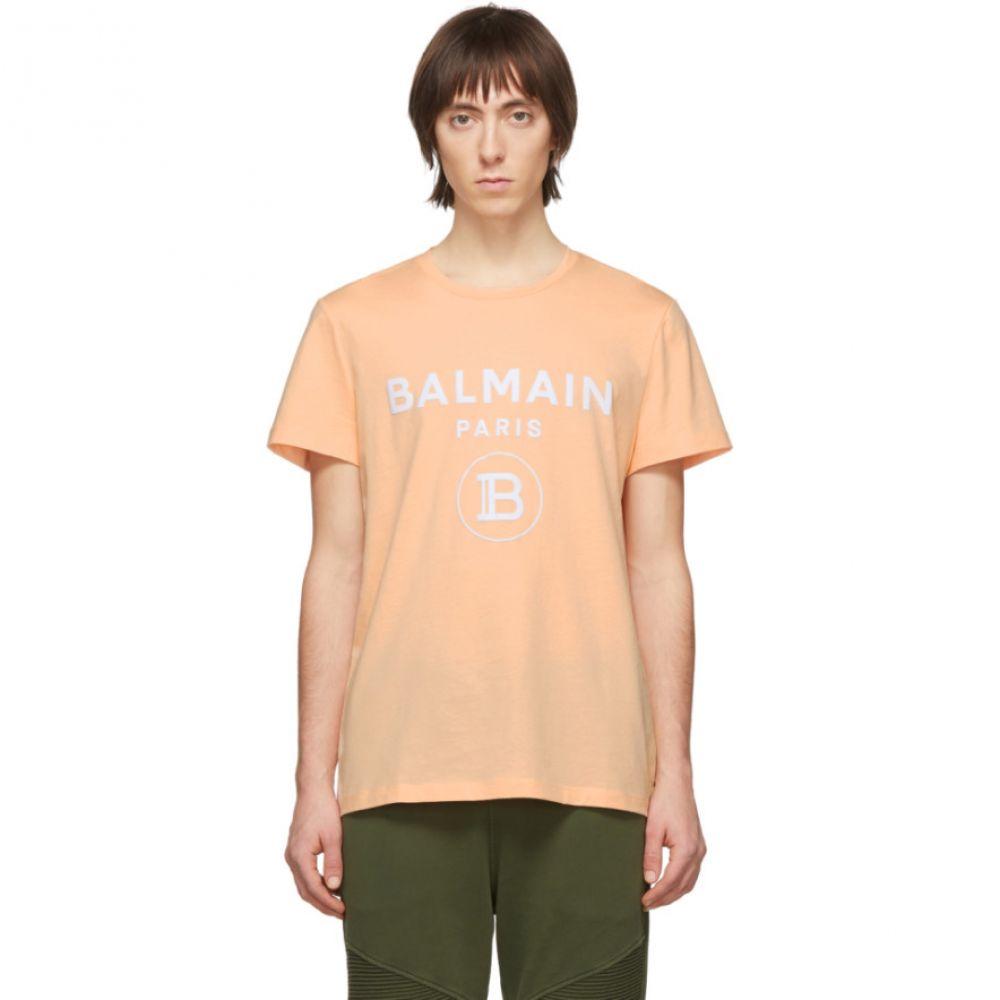 バルマン Balmain メンズ Tシャツ トップス【Orange Flocked Logo T-Shirt】Peche/Blanc