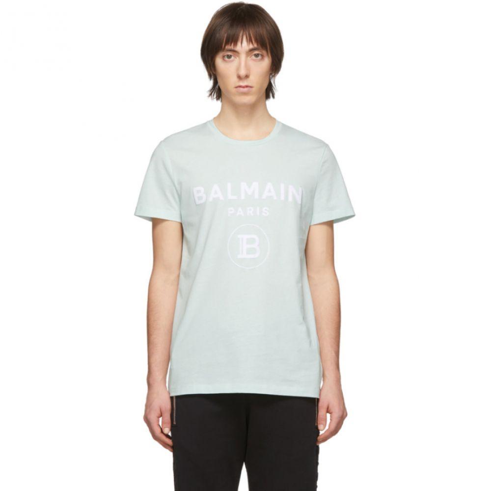 バルマン Balmain メンズ Tシャツ トップス【Green Flocked Logo T-Shirt】Vert