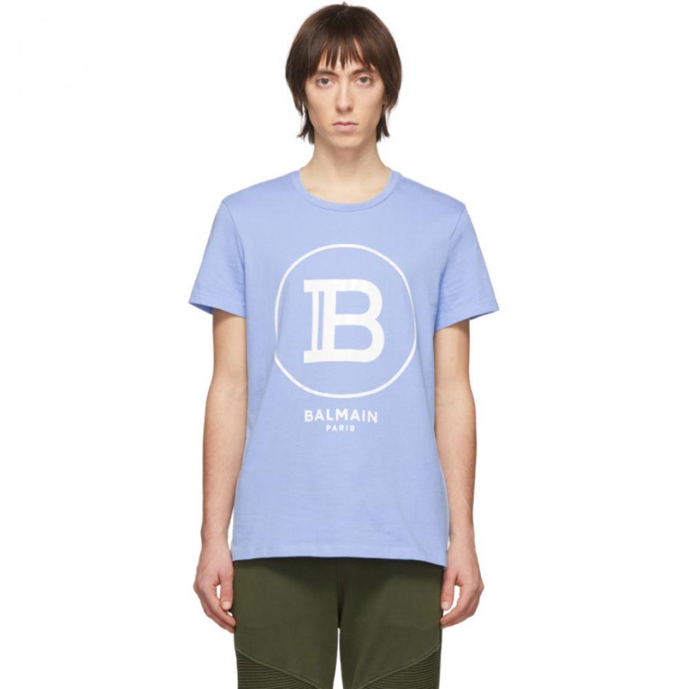 バルマン Balmain メンズ Tシャツ トップス【Blue Logo T-Shirt】Bleu/Blanc
