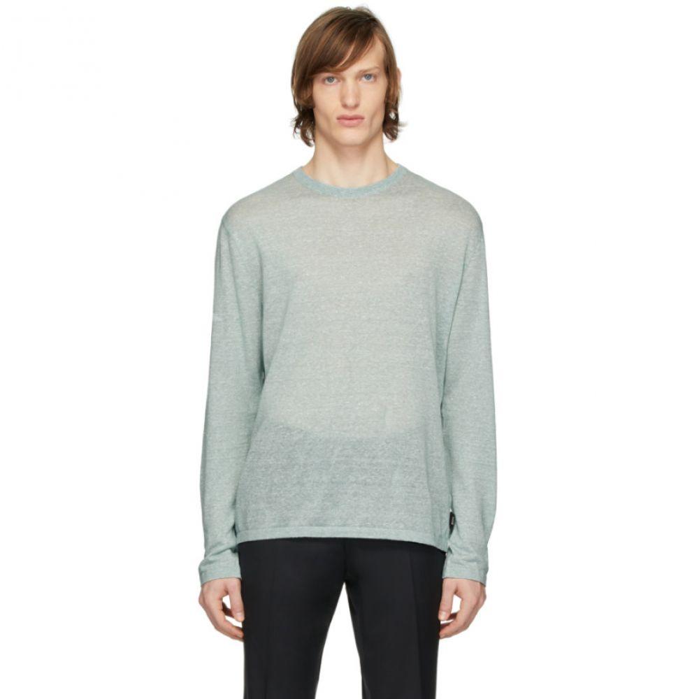 ジーゼニア Z Zegna メンズ 長袖Tシャツ トップス【Green Linen Long Sleeve T-Shirt】Green