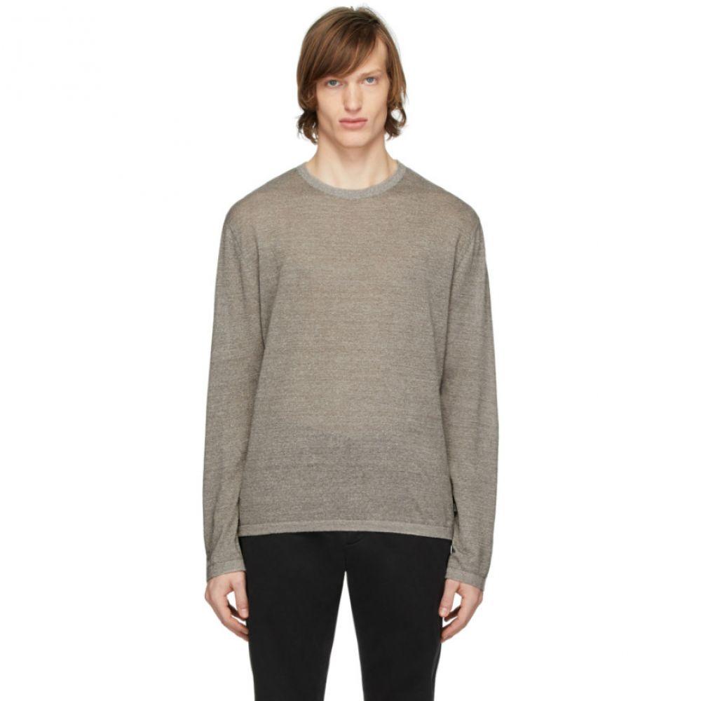 ジーゼニア Z Zegna メンズ 長袖Tシャツ トップス【Brown Linen Long Sleeve T-Shirt】Brown