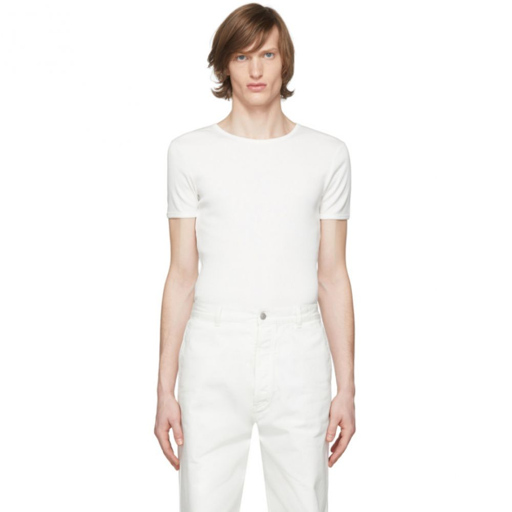 ドリス ヴァン ノッテン Dries Van Noten メンズ Tシャツ トップス【White Rib Knit T-Shirt】White