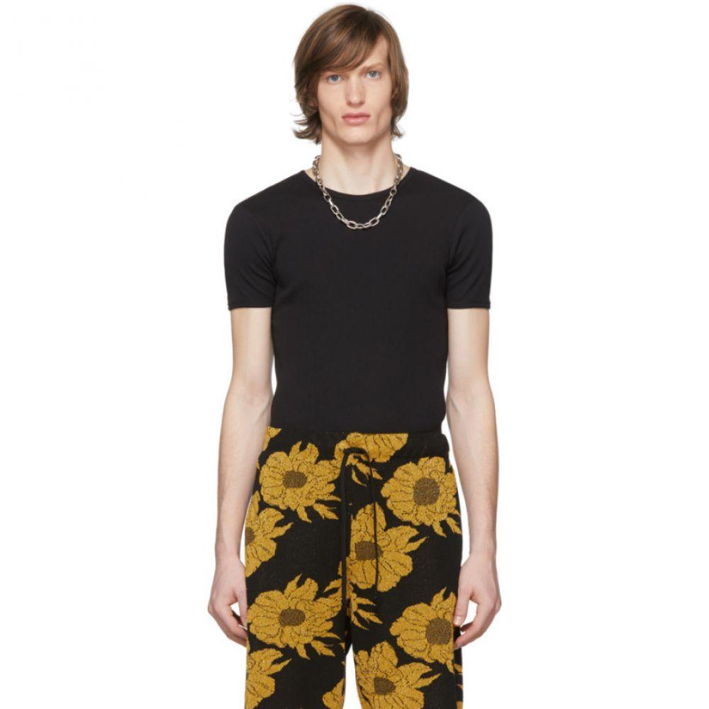 ドリス ヴァン ノッテン Dries Van Noten メンズ Tシャツ トップス【Black Rib Knit T-Shirt】Black