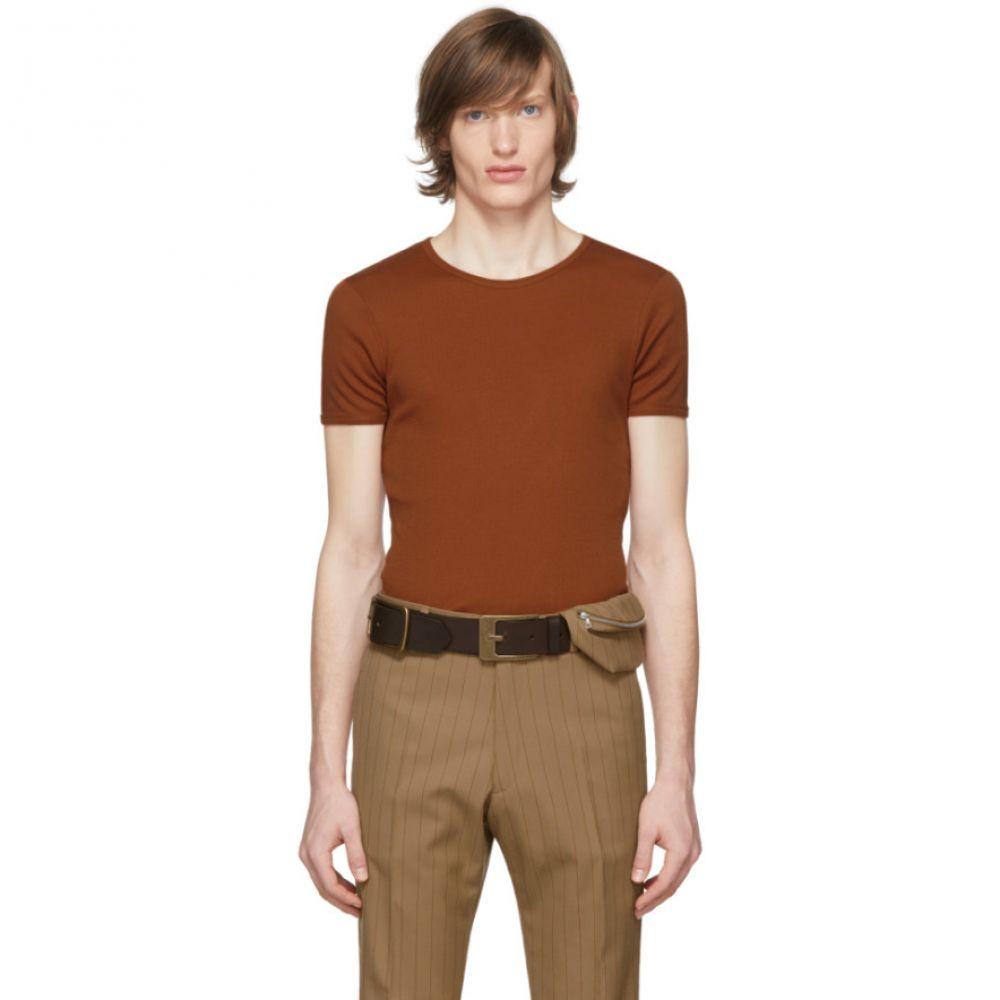 ドリス ヴァン ノッテン Dries Van Noten メンズ Tシャツ トップス【Brown Rib Knit T-Shirt】Tan