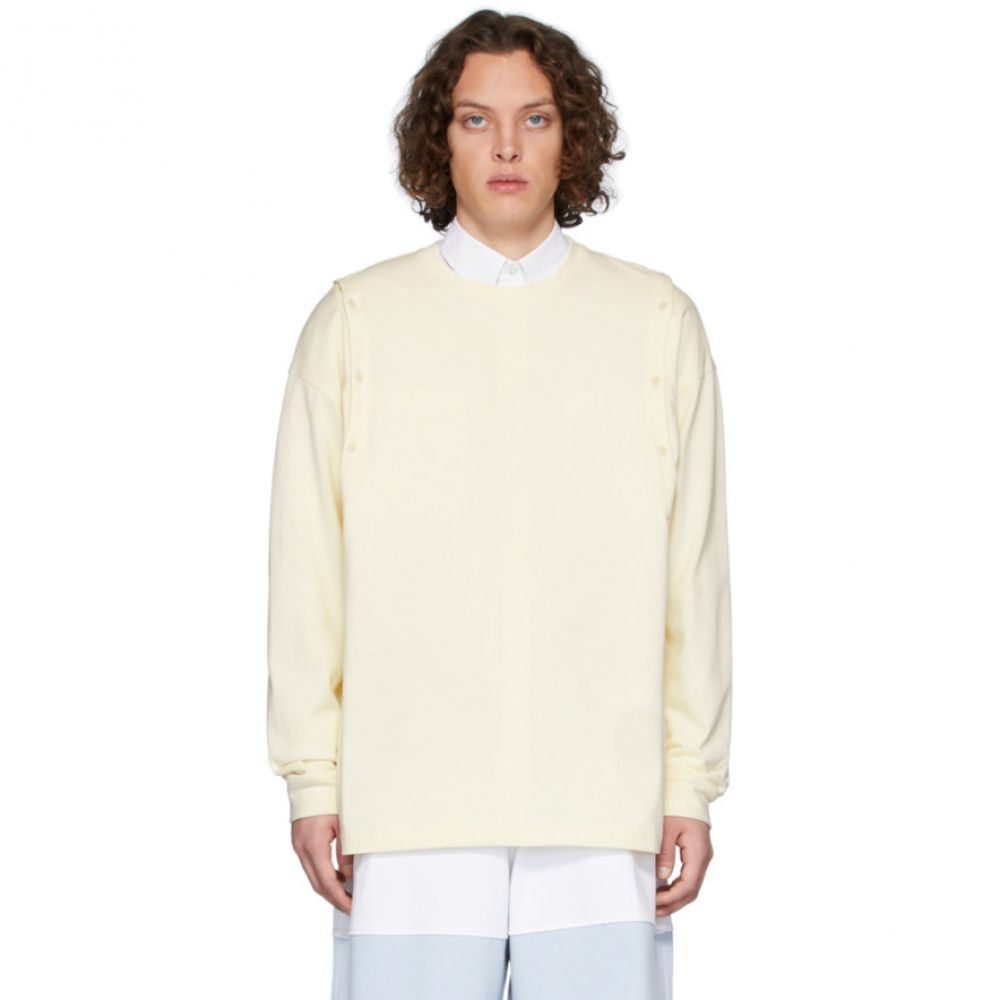 J.W.アンダーソン JW Anderson メンズ 長袖Tシャツ トップス【Yellow Shoulder Placket Long Sleeve T-Shirt】Off-white