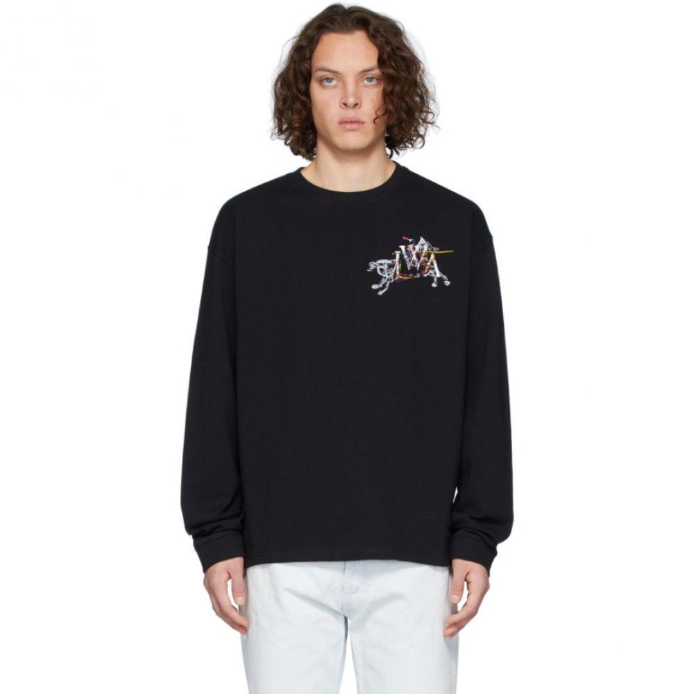 J.W.アンダーソン JW Anderson メンズ 長袖Tシャツ トップス【Black Camelot Embroidery Long Sleeve T-Shirt】Black
