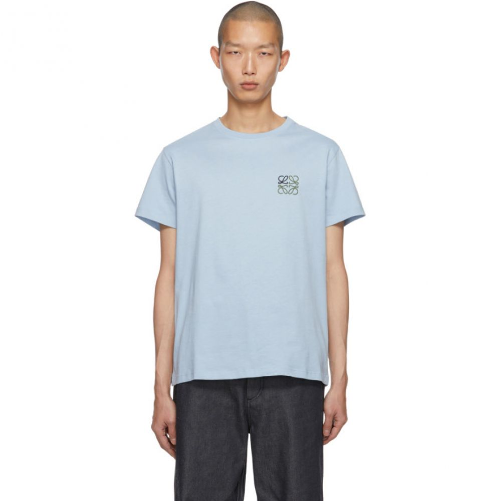 ロエベ Loewe メンズ Tシャツ トップス【Blue Embroidered Anagram T-Shirt】Baby blue