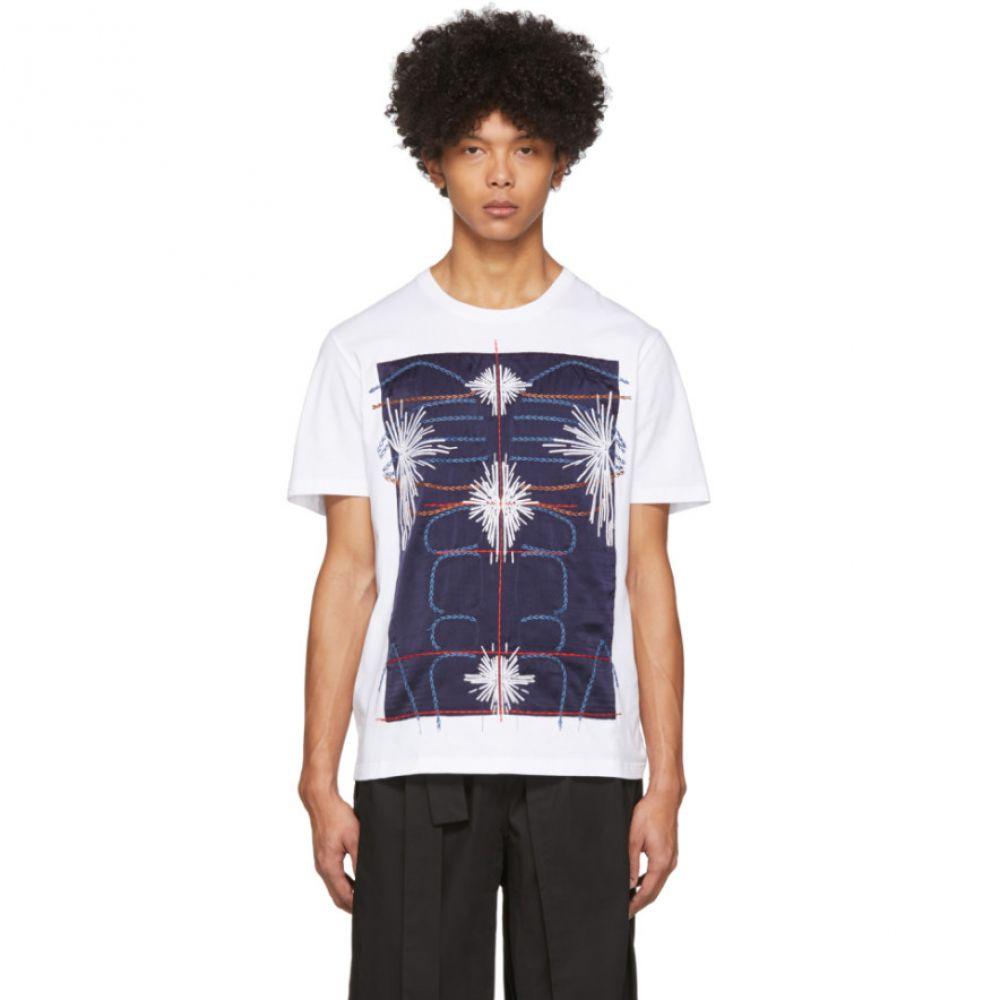 クレイググリーン Craig Green メンズ Tシャツ トップス【White & Navy Embroidered Body T-Shirt】Navy