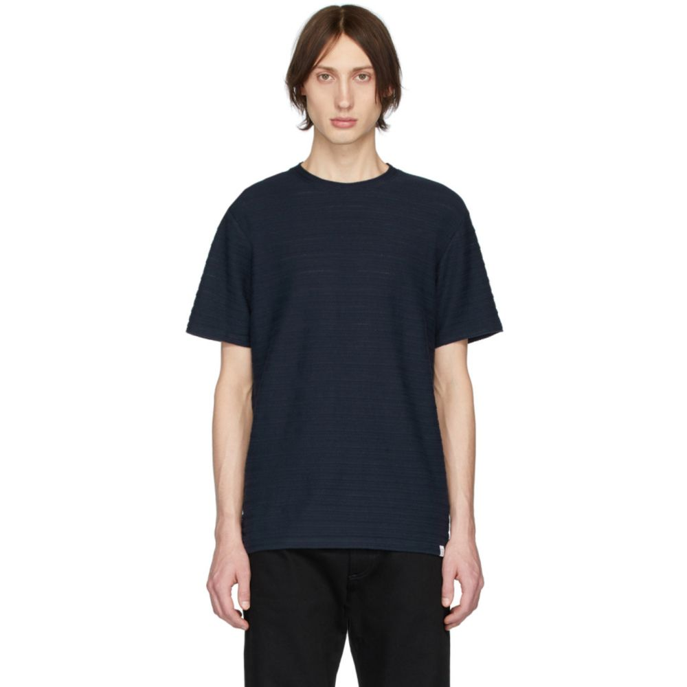 ノースプロジェクト Norse Projects メンズ Tシャツ トップス【Navy Jacquard Niels T-Shirt】Dark navy