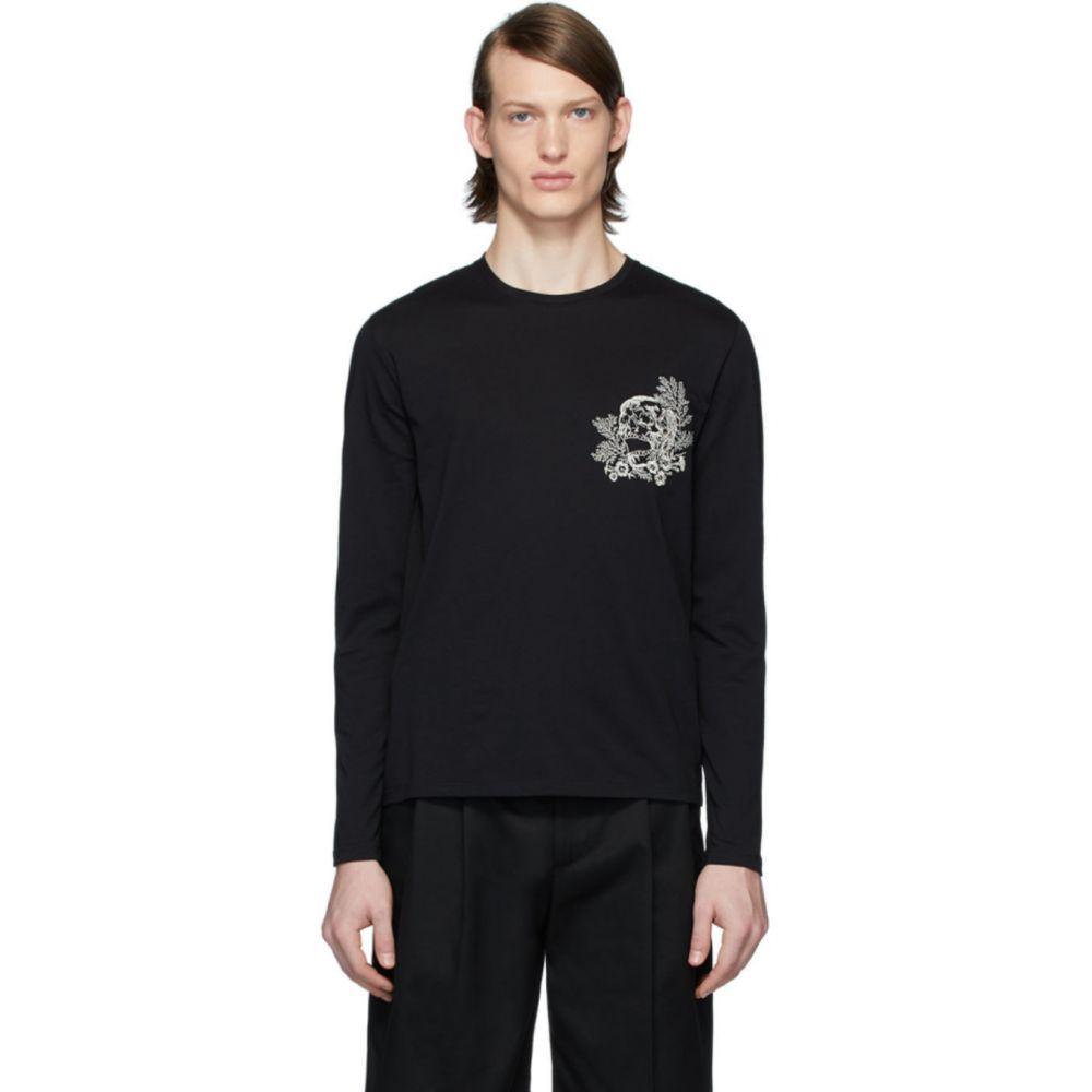 アレキサンダー マックイーン Alexander McQueen メンズ 長袖Tシャツ トップス【Black Skull Flower Long Sleeve T-Shirt】Black mix