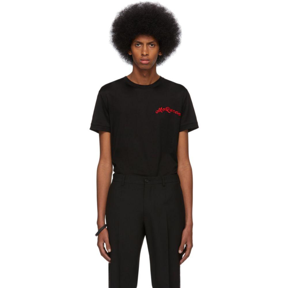 アレキサンダー マックイーン Alexander McQueen メンズ Tシャツ トップス【Black Mercerized Logo T-Shirt】Black